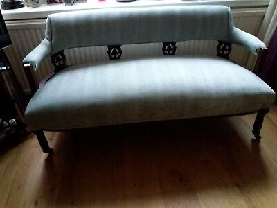A Beautiful Edwardian Settee Newly Upholstered In Duck Egg Blue Chenille.