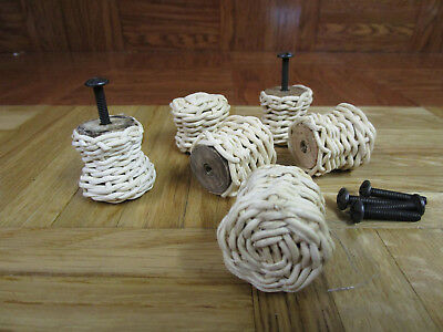 6 Vintage Wicker Knobs Pull Cabinet Furniture with Hardware