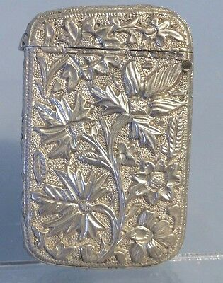 Antique Silver vesta, floral cast ornate tropical plant design South American.