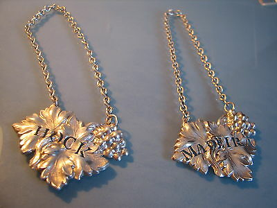Pair of white metal pierced leaf decanter bottle ticket labels HOCK & MADEIRA