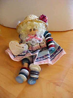 """Vintage """"button Baby"""" Hand Made Wood Doll With Usable Buttons For Arts & Crafts"""