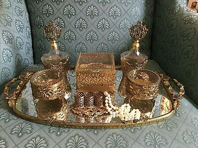 Large Fabulous 7 Pc. Antique Vintage Gold ORMOLU Dresser Vanity Set French Look