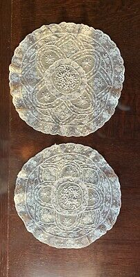 Two Very Fine White Antique Lace Doilies With Embroidered Centres