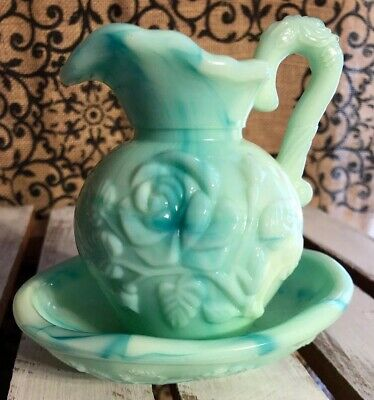 Vintage Avon Green/Blue Slag Glass Pitcher and Bowl ; Victorian' style, Roses