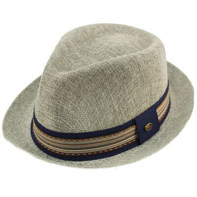 47d8a6d8263 Men s Primo Summer Lightweight Linen Derby Fedora Upturn Brim Hat Gray 56cm  S M
