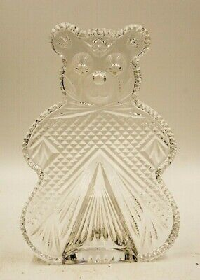WATERFORD Crystal TEDDY BEAR BOOKEND FIGURINE Sculpture Signed Ireland Lux glam