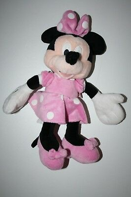 Doudou Peluche Souris Minnie Robe Rose A Pois Blanc 32 Cm Disney Nicotoy