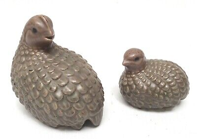 Town House Pottery Mother and Baby Quail Figurines Oregon