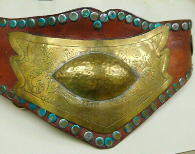 Unique Motorcycle Kidney Belt Belt Buckle  Hammered Brass & Distressed Leather