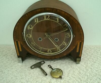 Antique Franz Hermle Mantel Wooden Clock Foreign 178/28 Movement #554