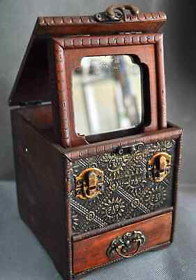 Royal Collectable Antique Boxwood Handwork Carve Flower Mirror Old Jewelry Box