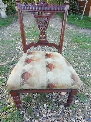 Antique Victorian Mahogany Nursing Chair Ceramic Castors Sprung Seat Solid Cond