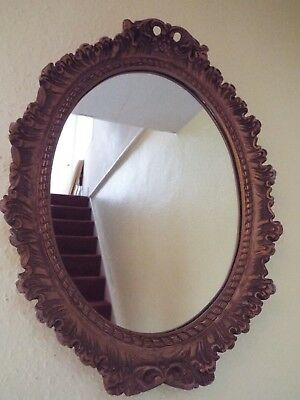 Vintage Ornate Gold Chalk Framed Oval Wall Mirror Circa 1950 Rococo French Style