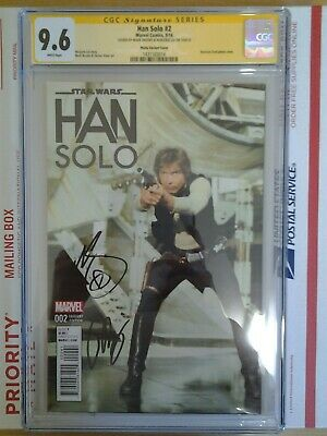 STAR WARS HAN SOLO #2 HARRISON FORD MOVIE PHOTO VARIANT COVER CGC SS 9.6 2xSIGN