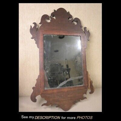 Antique Primitive Early 1800s Federal Mahogany Inlaid Wall Mirror