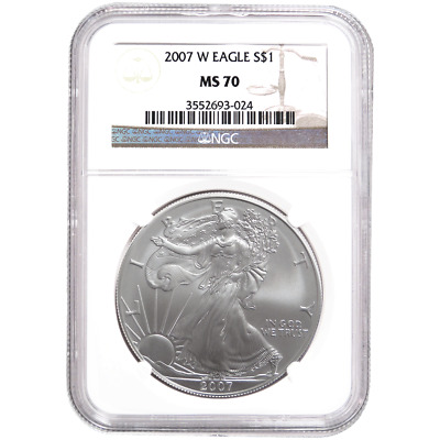 2007-W $1 Burnished American Silver Eagle NGC MS70 Brown Label