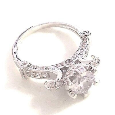 Large 4 Ct Diamond Ring Wedding Engagement White Gold Plated Jewelry Gift R6324