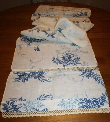 """Antique Handmade Table Runner Tropical Fabric & Tatting Tatted Lace 68""""x17.5"""""""