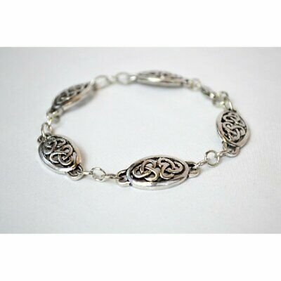 Ancient Celtic Double Knot Chain Link Bracelet, Silver Color