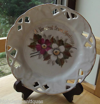 ANTIQUE/VINTAGE GERMAN HAND-PAINTED PORCELAIN RETICULATED PLATE - Gift Hastings