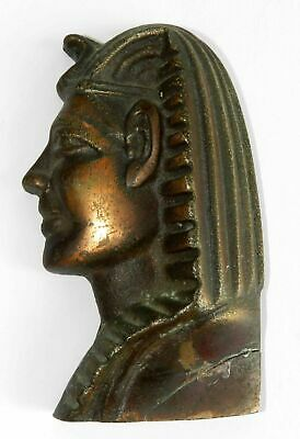 "Antique 4.3"" Bronze Face Mask Head KING TUT Egypt Tutankhamen Wall Hanging Vtg"
