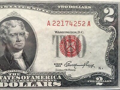 Wow 1953 $2 TWO DOLLAR BILL RED SEAL ,UNCIRCULATED