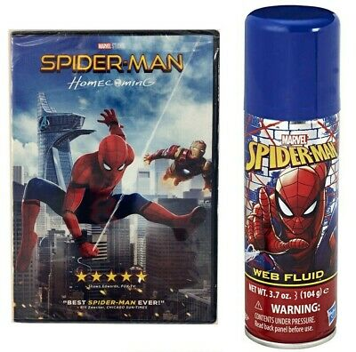 Marvel's Spider-Man: Homecoming DVD & SpiderMan Web Fluid Refill Can 3.7oz