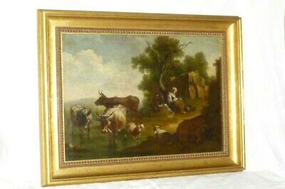 Rarity Antique Oil Painting Landscape Cows Animals Picture 1850
