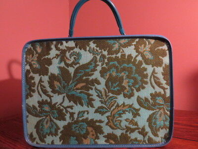 Vintage Tapestry Woven Bag Case Luggage Suitcase Blue Green Floral Design