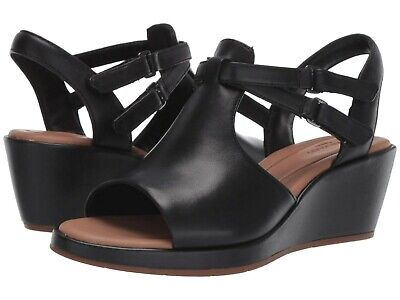 cc1233cf737 Women s Shoes Clarks Un Plaza Way Caged Open Toe Wedge 40371 Black Leather   New