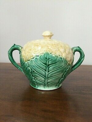 Antique ETRUSCAN Majolica GRIFFIN SMITH & HILL Cauliflower Sugar Bowl with Lid