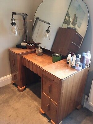 Light Walnut Vintage Dressing Table With mirror