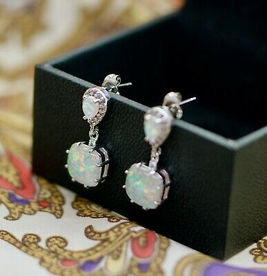 Vintage Jewellery Earrings with Opals and White Sapphires Jewelry