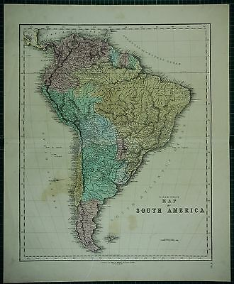 1850 Large Antique Hand Coloured Map South America Chile Brazil Colombia Bolivia