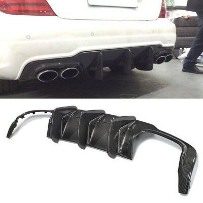 Big Shark Fin Carbon Fiber Rear Bumper Diffuser For 12-15 MERCEDES BENZ W204 C63