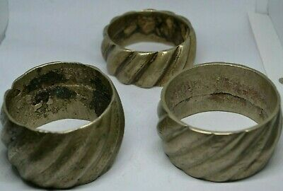 LOT X3 Ancient Viking SILVER very fat Warrior Arm bracelets. REALLY RARE TYPE