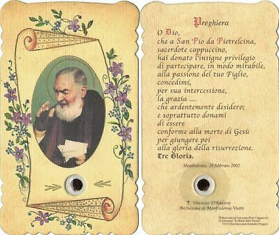 St. PADRE PIO of Pietrelcina, die-cut HOLY CARD with RELIC