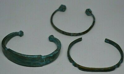 Lot X3 Extremely Ancient Viking Rare Bracelets Bronze Artifact Old