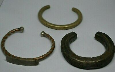 Lot X3 Extremely Ancient Viking Rare Bracelets Bronze Silver Really Rare Type