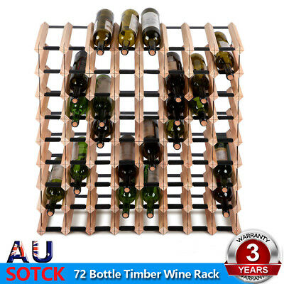 Artiss 72 Bottle Timber Wine Rack Wooden Storage Cellar Vintry Organiser Stand