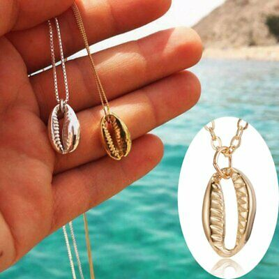 Women Gold Silver Beach Sea Shell Cowrie Pendant Necklace Chain Jewelry Gift New