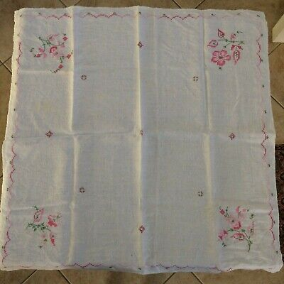 Antique Hand-Embroidered Square Linen Table Cloth