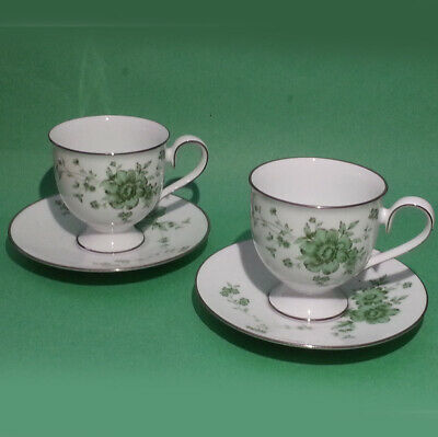 Noritake Ireland Tipperary Coffee Footed Cup with Saucer Silver Trim, Set of 2