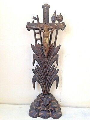 1700's Altar Cross Black Forest Carved Wood Instrument Crucifixion Cattail