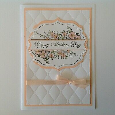 Handmade Mother's Day card: Antique floral with blush.