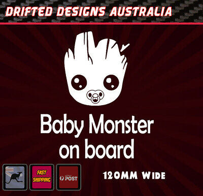 Baby Monster On Board - baby on Board White Funny Decal Bumper Sticker Groot