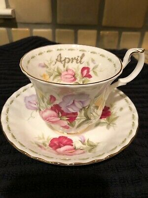 Royal Albert Bone China flowers of the month- April sweet pea tea cup and saucer
