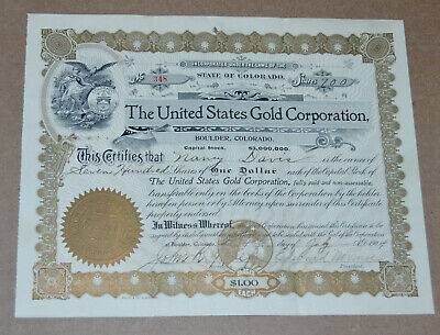 The United States Gold Corporation 1904 antique stock certificate