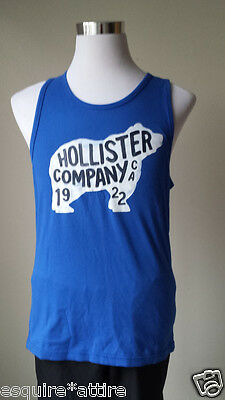 HOLLISTER men size M graphic tank top blue cotton Summer Beach T-shirt