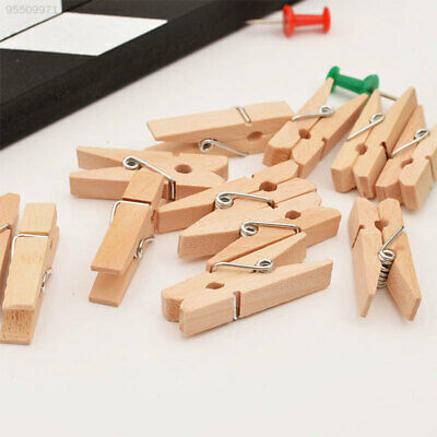 0B89 50Pcs/Pack Mini Photo Clothes Clip Holder Wooden Home Organizer Clothespin